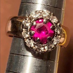 Ruby/diamonds YG estate/antique/vintage halo ring